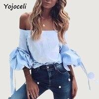Yojoceli Fashion Sexy Blue Striped Blouses Shirt Women Lantern Sleeve Off Shoulder Blusas Top Casual Vintage