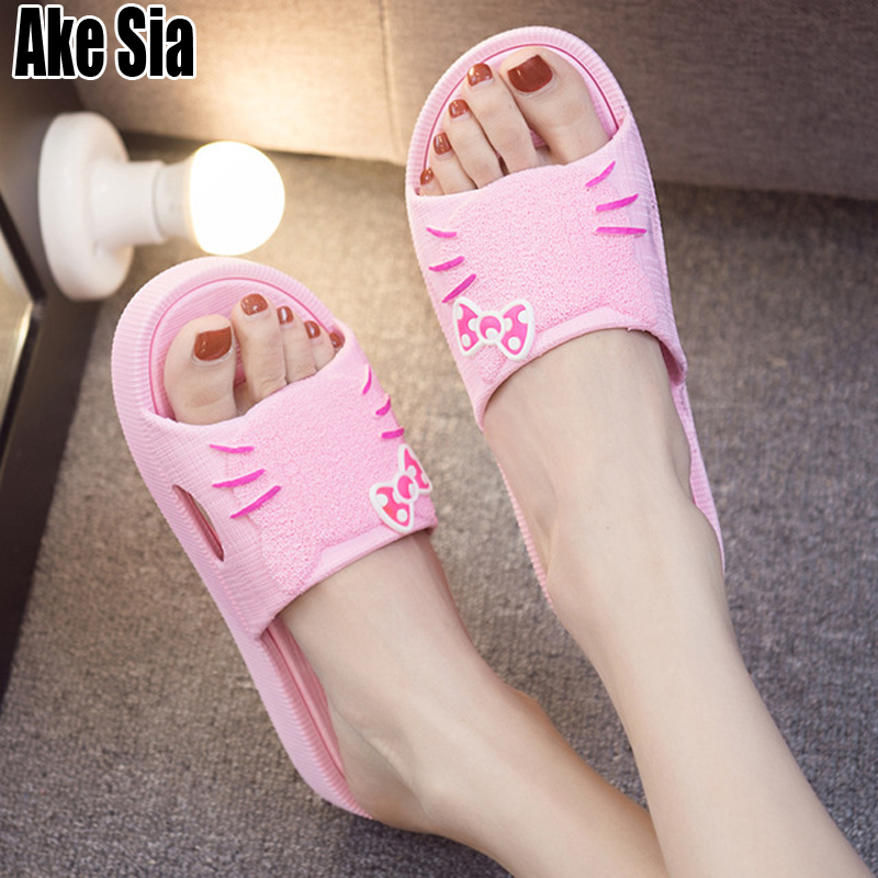 Summer Women Fashion Casual Cute Hello Kitty Kitten Cartoon Pattern Babouche Open Toe Thick Sole Flat Slippers Slides Shoes A241Summer Women Fashion Casual Cute Hello Kitty Kitten Cartoon Pattern Babouche Open Toe Thick Sole Flat Slippers Slides Shoes A241