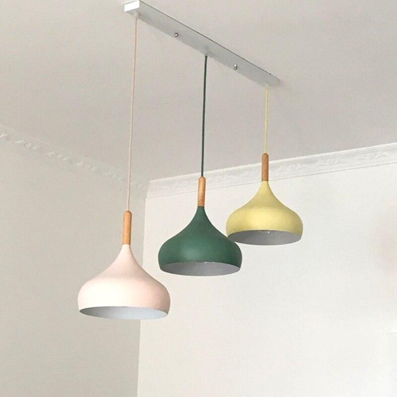 Modern Restaurant Pendant Lights 3 heads 24cm lampshade Suspension rectangular round ceiling plate Hanging Lightings