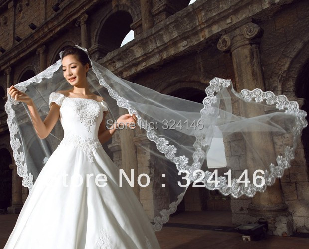 T06- 5m  noble white lace bridal veils wedding long veils high quality  bride hair veils  Accessories