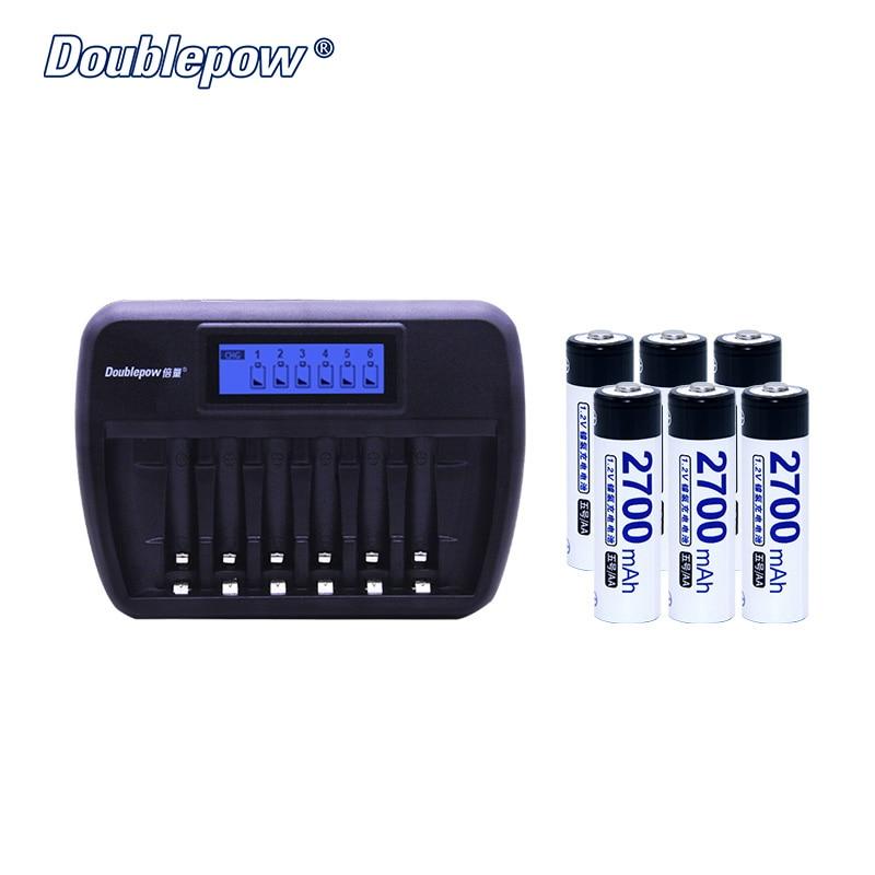 6 слотов Doublepow DP K66 LCD Интеллектуальное Быстрое зарядное устройство плюс 6 шт 1,2 В NI NH аккумуляторы в полной емкости
