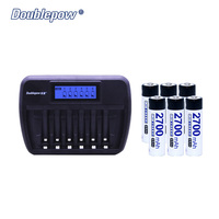 6 Slots Doublepow DP K66 LCD Intelligent Charger Plus 6pcs NI NH Rechargeable Batteries In Full