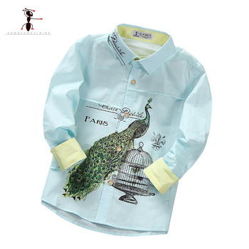 2017Long-sleeved boy's  3-8 YearsLetter Printed full shirt Turn-down Collar 4 Colors White Pin yellow Blue  Shirts for Kids 1902