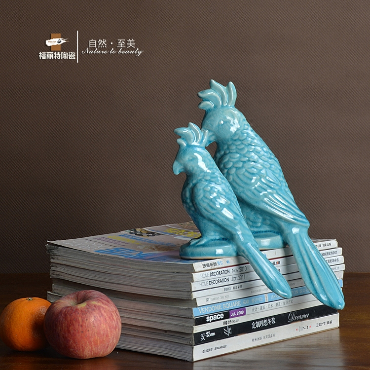 Blue ceramic creative parrot statue home decor crafts room decoration birds porcelain animal figurines wedding decoration gifts in Figurines Miniatures from Home Garden