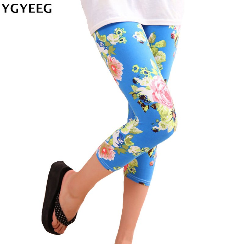YGYEEG 2019 Women Capris Skull Head Leggins Floral Printing Soft Pants High Street Grid Leggings Mid-Calf Hot Lips Legging Лосины