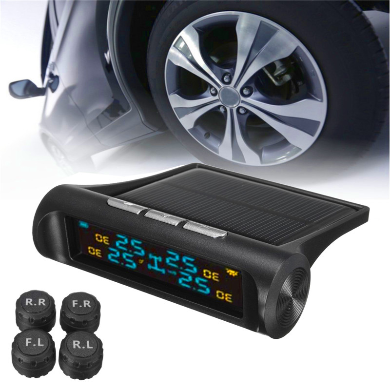 ФОТО Solar TPMS Car Tire Pressure Monitoring System LCD Display 4 External Sensors Auto Alarm System Solar Energy Diagnostic Tool