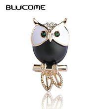 Blucome Black White Enamel Bird Brooch Green Big Eyes Parrot Brooches For Kids Boy Women Coat Collar Suit Scarf Pins Owl Jewelry(China)