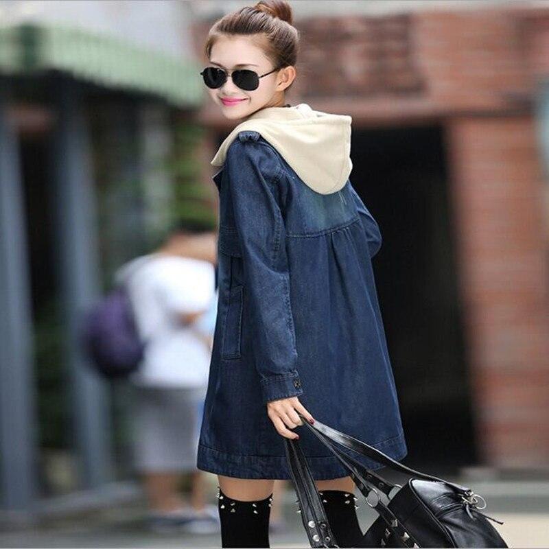 Femmes Capuche Coupe Veste Denim Bleu vent Manches À Taille Casual Manteau Grande Longues Printemps Automne Lâche Pqw7wRt