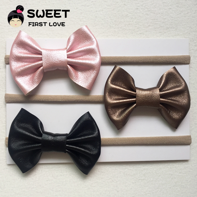 3pcs kids Bow Headbands Cute Leather Headwear Girls Elastic Nylon Headband DIY hair accessories for children todder Headbands