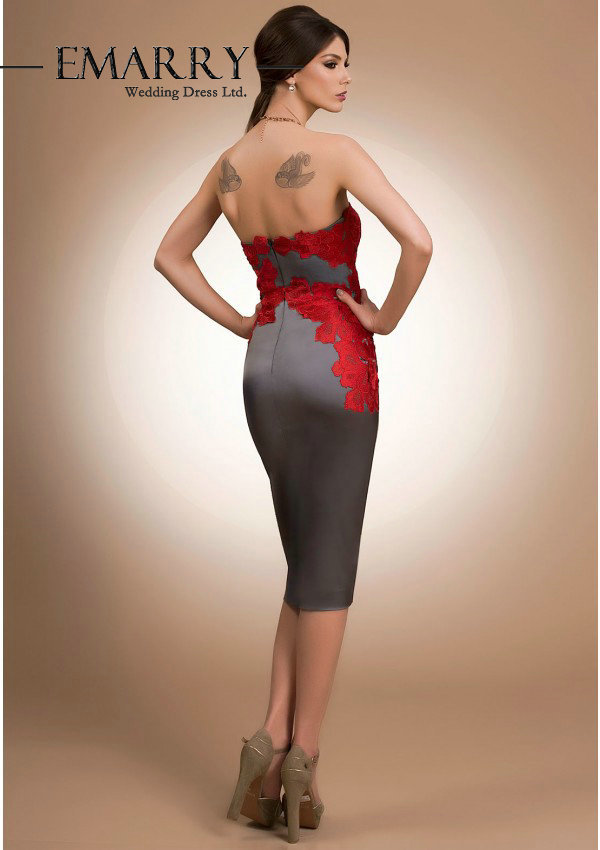 c2eac0f9d80 SZ266 Elegant Tea Length Anthracite Grey  Sangria Red Taffeta Cocktail  Dresses Sexy Off the Shoulder Sweetheart Appliques Dress-in Cocktail  Dresses from ...