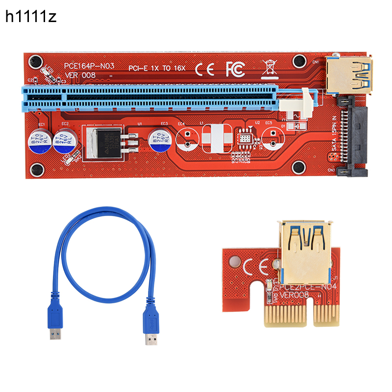 Computer & Office 2019 Fashion 10pcs Riser 008 Red Board 3 Led Pci Express Riser Card Pci-e 1x To 16x Extender Adapter Card Usb 3.0 Cable For Btc Miner Machine