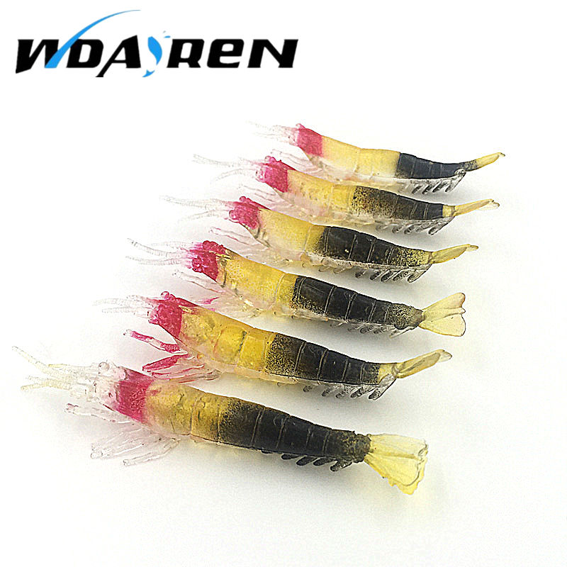5 pcs/lot 9cm 3.75g soft Lifelike Fishing Lure Soft Artificial shrimp bait 3 Colour artificial Trout soft bait FA-391 051 lifelike shrimp style soft rubber fishing bait fluorescent green 90 pcs