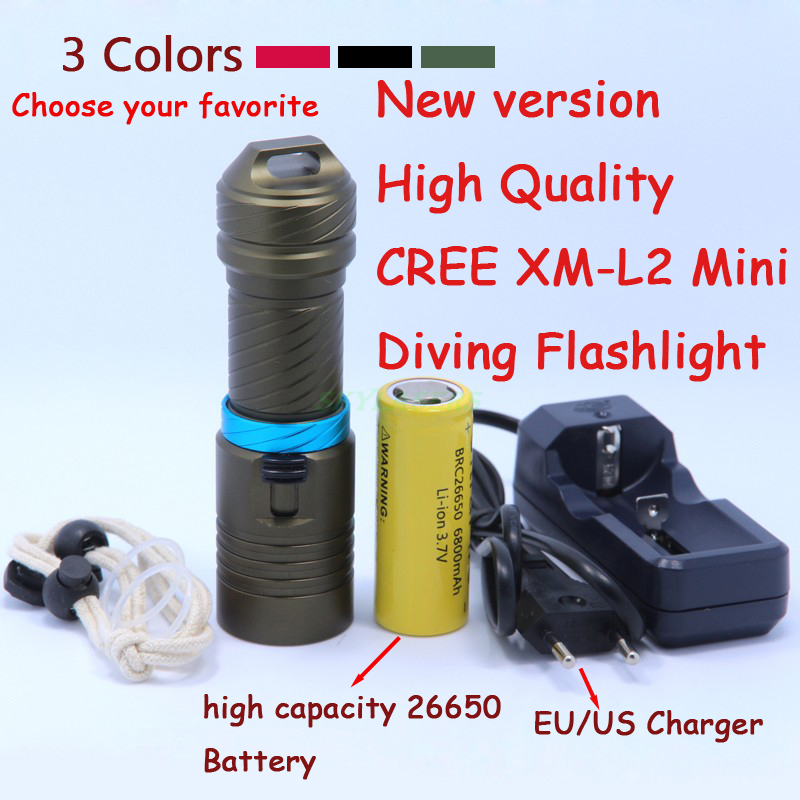 New 2000 Lumens Cree XM-L2 LED Diving Flashlight Torch 100M Underwater Waterproof Scuba Lantern + 26650 Battery +  Charger tinhofire 6870 cree xm l 2 2000 lumens l2 led flashlight torch light lamp micro usb input 5v charger with battery