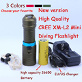 New 2000 Lumens Cree XM-L2 LED Diving Flashlight Torch 100M Underwater Waterproof Scuba Lantern + 26650 Battery +  Charger