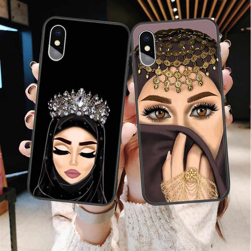 Luxury Muslim Islamic Gril Eyes Princess Case For iPhone X SE 5 5s 6 6sPlus 7 8 Plus XS XE XS MAX Silicone TPU Phone Cover