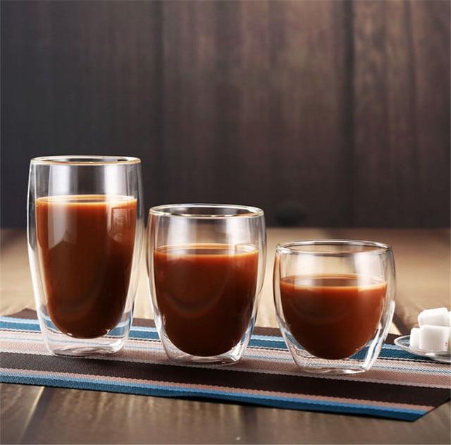 80250350450ml Double Wall Glass Coffee Mug Tea Beer Milk Mug