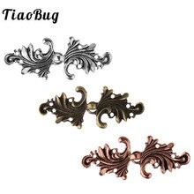 TiaoBug 5 pares Vintage capa de hoja de Acanthus o cierre de capa sujetadores coser en ganchos y ojos Rebeca broche de mujer broche accesorios