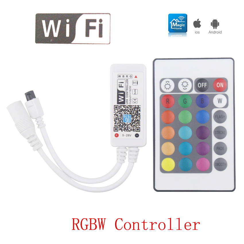 Magic Home Mini RGBW Wifi Led Controller DC12V IR 24key Remote Controller RGBW Led Strip Wifi Controller For RGBW Strip Light