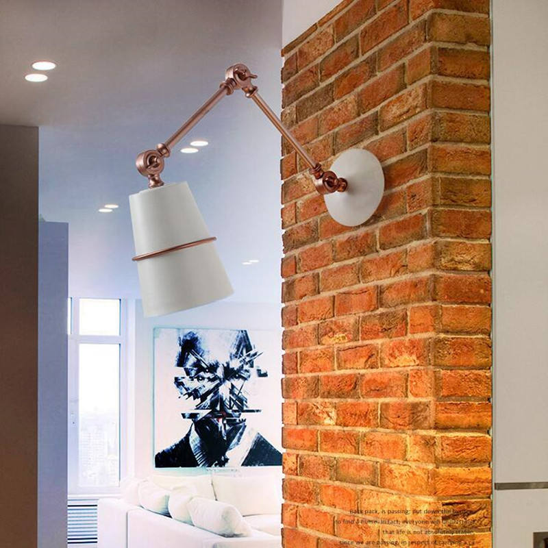 Nordic Post Modern Bedroom Bedside LED Wall Lamp Simple Retro Industrial Wind Swing Arm Iron Art Porch LED Wall Light Fixture nordic bedside wall lamp american bedroom iron retro wall lamp industrial wind corridor loft aisle lamps lighting fixture led