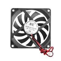 12V охлаждающий вентилятор для ПК 2-контактный 80x80x10 мм компьютерный процессор системы охлаждения радиатора Бесщеточный вентилятор охлаждения 8010 - Цвет лезвия: Black