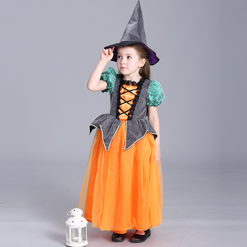 Halloween Festival New Toddler Girls Show Stage Performance Princess Pumpkin Cosplay Party Lovely Short Sleeve Costume Dress baby girls halloween pumpkin dress girls halloween stripe ruffle dress halloween party dress long sleeve with accessories