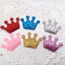 sew on Glitter felt patches for clothes 3x4cm crown shape 100pcs scrapbooking accessories