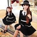 Madre e hija me madre a juego de manga larga parte vestidos formales de la familia ropa trajes vestido negro blanco envío gratis