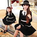 Mom and daughter me Mother matching Long sleeve Part Formal Dresses family clothing outfits dress Black white free shipping
