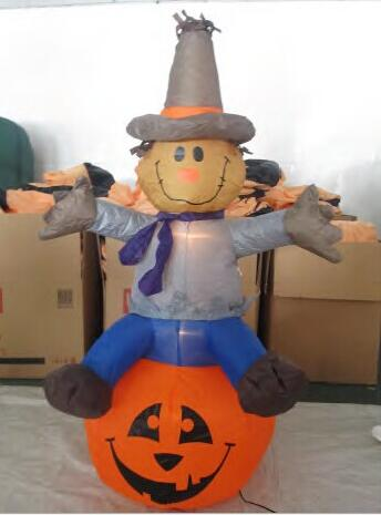 2017 Factory price 1.2M LED lighted Inflatable Halloween Scarecrow with Scary Pumpkin lighted Pumpkin Bar KTV Store decor