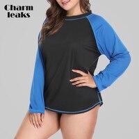 Charmleaks feminino mangas compridas tamanho grande camisa de ajuste seco proteção uv rashguard camisas rash guard topo colorblock beach wear Rash Guard     -