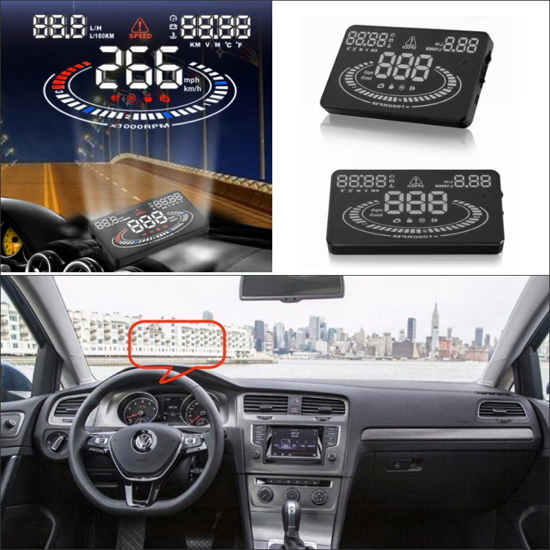 Car HUD Head Up Display For Volkswagen Golf GTI / Jetta - Safe Driving Screen Projector Inforamtion Refkecting Windshield