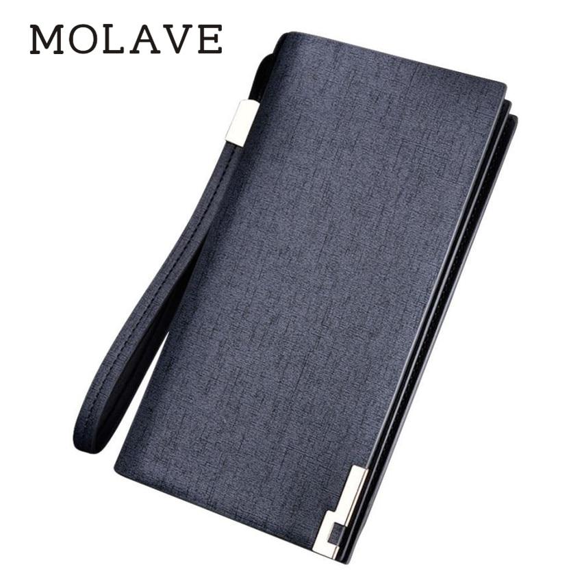 цена на MOLAVE wallets wallet male Solid card holder Zipper Men Long Bifold Business Leather Wallet Money Bag Coin purse Feb12