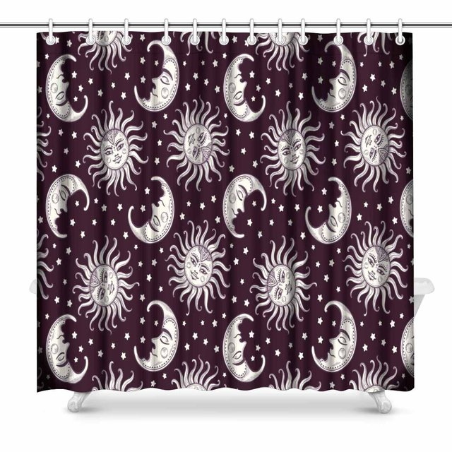 Aplysia Sun Moon Stars Space Crescent Boho Bohemain Black White Polyester Fabric Bathroom Shower Curtain Set