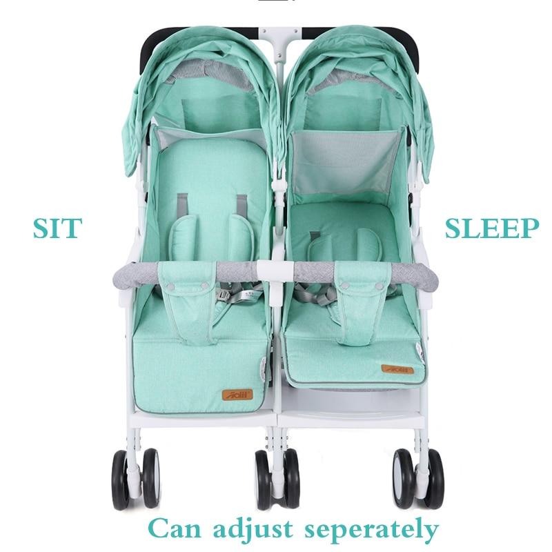 Licht Gewicht Twin Kinderwagen Baby Kinderwagen voor Twee Baby 'S Kan Zitten Kan Liggen Kinderwagen 3
