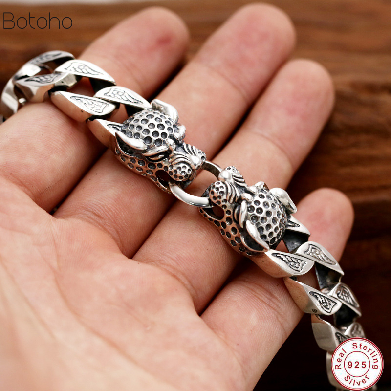 Heavy Thai silver 925 sterling silver bracelet men domineering retro punk rock antique fashion jewelry best gift charm Bracelet 2018 thai silver jewelry 925 sterling silver men bracelet male domineering personality retro fashion chain link charm bracelet