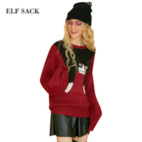 ELF SACK Women Cats Knitted Sweater Spring Sweet Loose Pullovers Tops