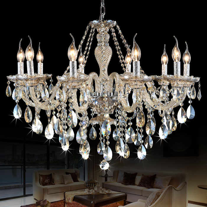 European Crystal Chandelier Living Room Atmosphere Bedroom Restaurant Simple Modern American Hotel Engineering Candle Lights european restaurant crystal chandelier simple ball bedroom modern simple led creative living room lighting dining room
