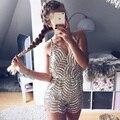 Сексуальная спинки блесток комбинезон ползунки женщины Регулируемый ремень v шеи вечеринок комбинезоны Моды клуб playsuit