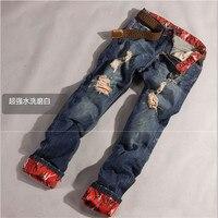 Men Hip Top Jeans Men Biker Skinny Jeans Vintage Hole Overalls Men Pants Ripped Jeans For