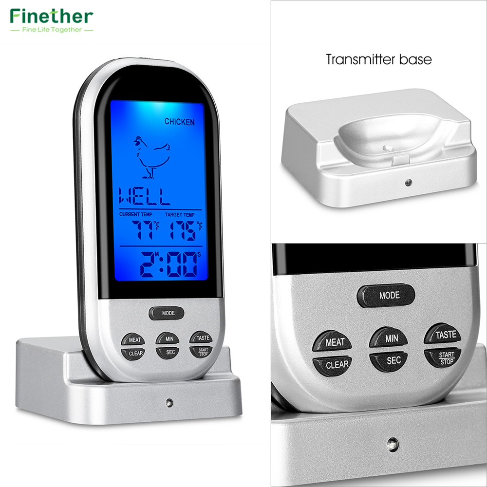Wireless Food Cooking Thermometer LCD Barbecue Timer Digital Probe Meat Thermometer BBQ Temperature Gauge Kitchen Cooking Tools4