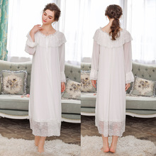 Spring Slash neck Nightdress Women Long Nightgowns Sleepwear Bridesmaid Bathrobes Sleepshirts Home Sleeping Dress