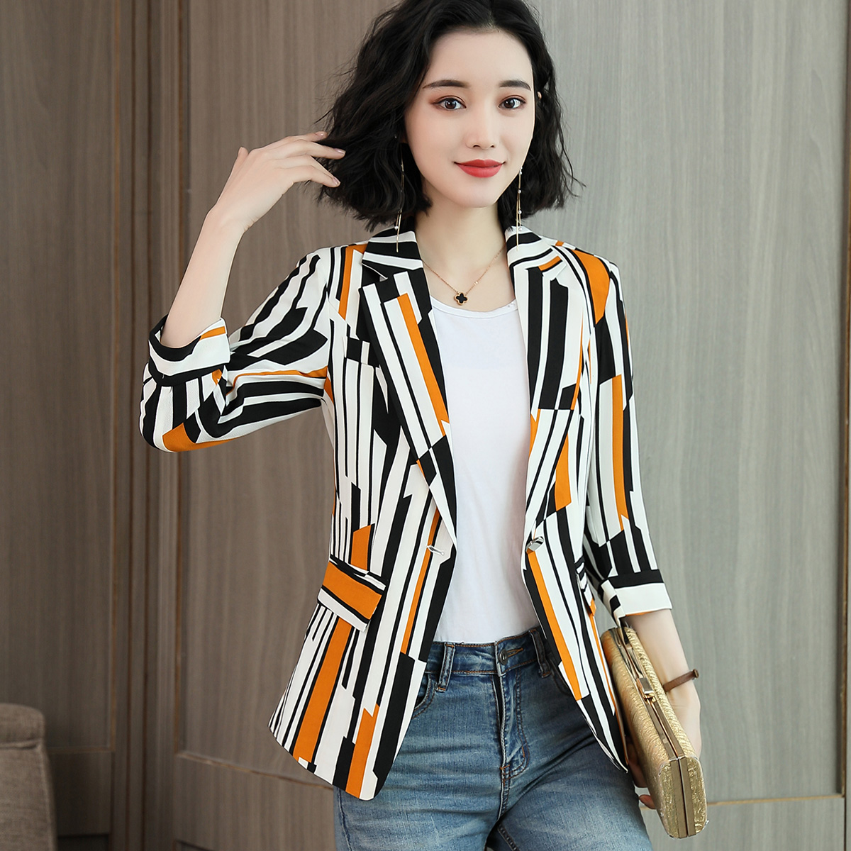 Korean Design Fashion Abstarct Print Women Casual Long Sleeve Open Front Cardigan Office Work Zip Blazer Suit