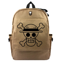 One Piece Straw Hat Skull Canvas Backpack Laptop Bag School Bag Shoulder Bag Travel Cosplay Bag With Earphone hole Durable