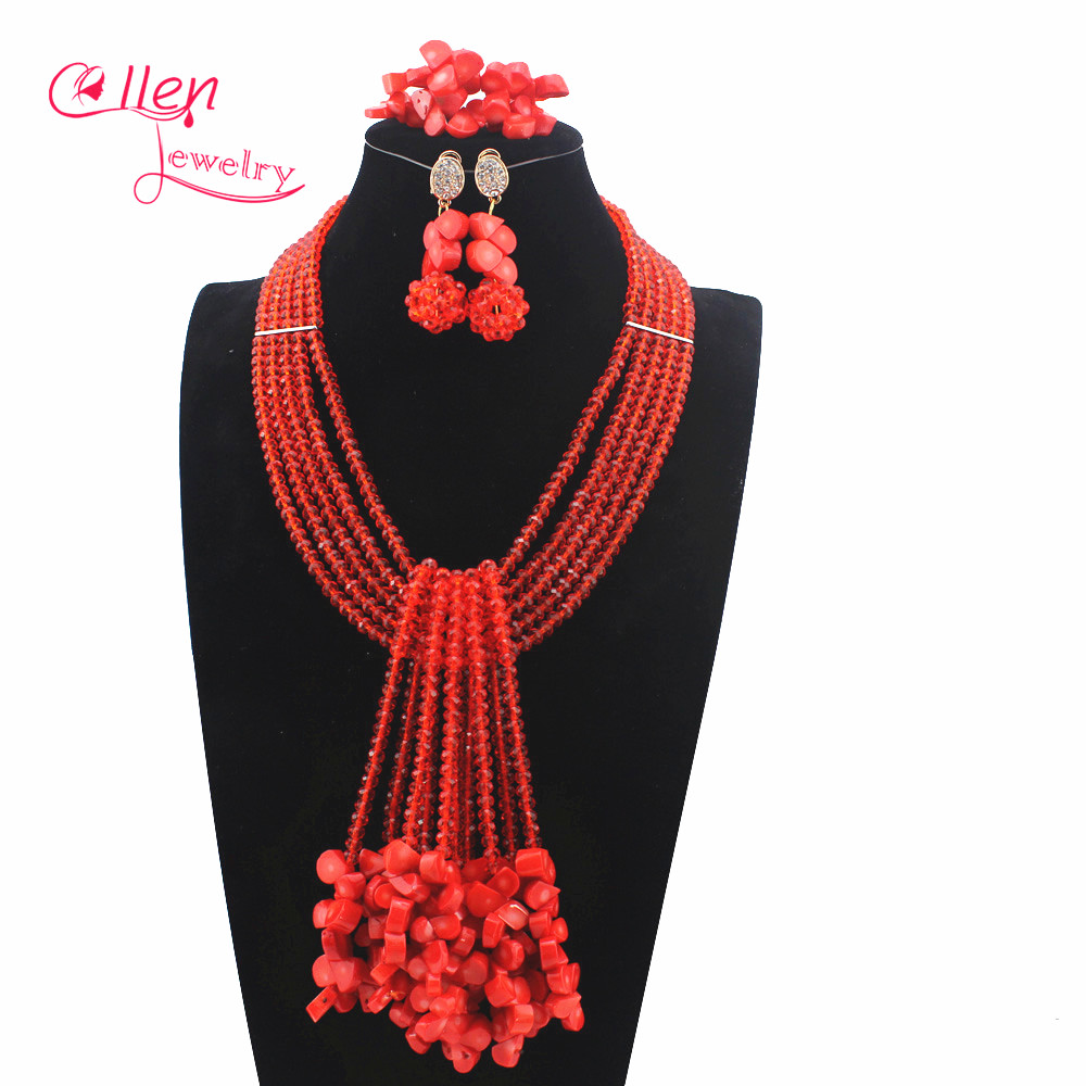 2019 New Nigerian Wedding African Coral Beads Jewelry Set Orange Coral Beads Necklace Jewelry Set Free Shipping W129692019 New Nigerian Wedding African Coral Beads Jewelry Set Orange Coral Beads Necklace Jewelry Set Free Shipping W12969