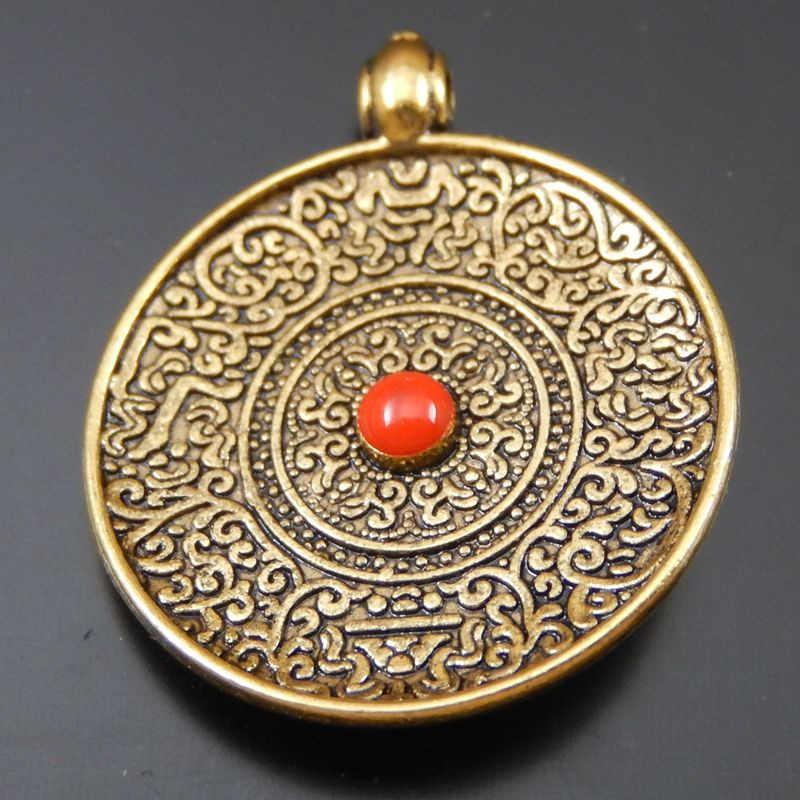 GraceAngie 6pcs Antique Silver Bronze  Round Decorative Pattern Shaped  Pendant Hanging Charms  Jewelry Bracelet Accessories