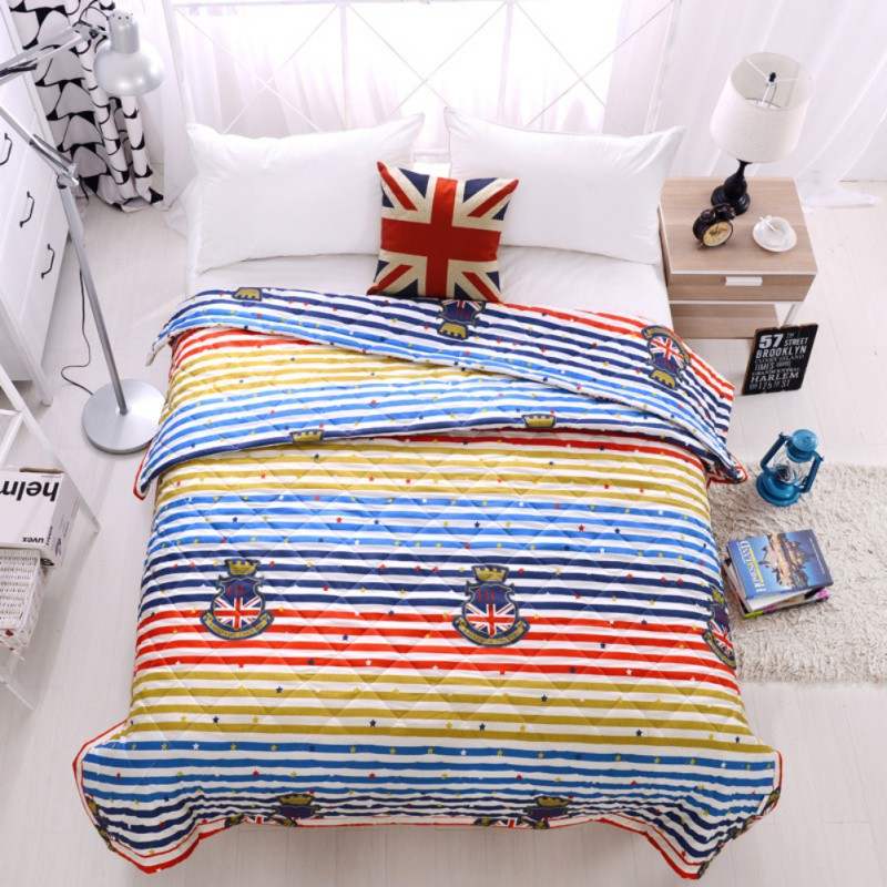 Kid Bedroom Warm Rug Girl Striped Bedsheet Air conditioning summer cool linen singles were core Aloe cotton thin quilt cartoon