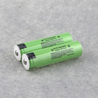 2PCS ( 1 pair ) Green Color NCR Rechargeable 18650 Batteries 3400mAh Pointed Head 3.7V Unprotected Battery
