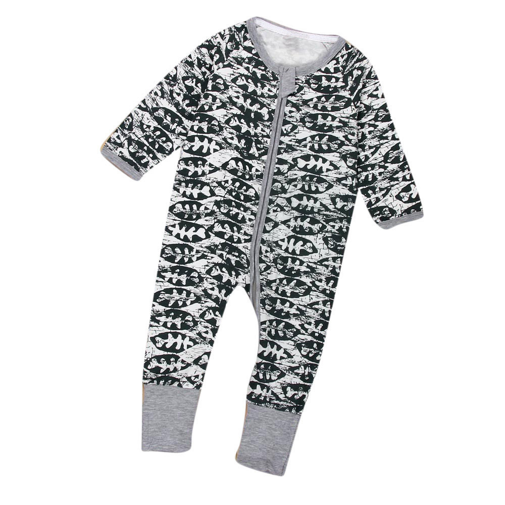 2018 New Newborn Baby Boys Girls Floral Print Zipper Long Sleeve Romper Outfits Clothes Dropshipping