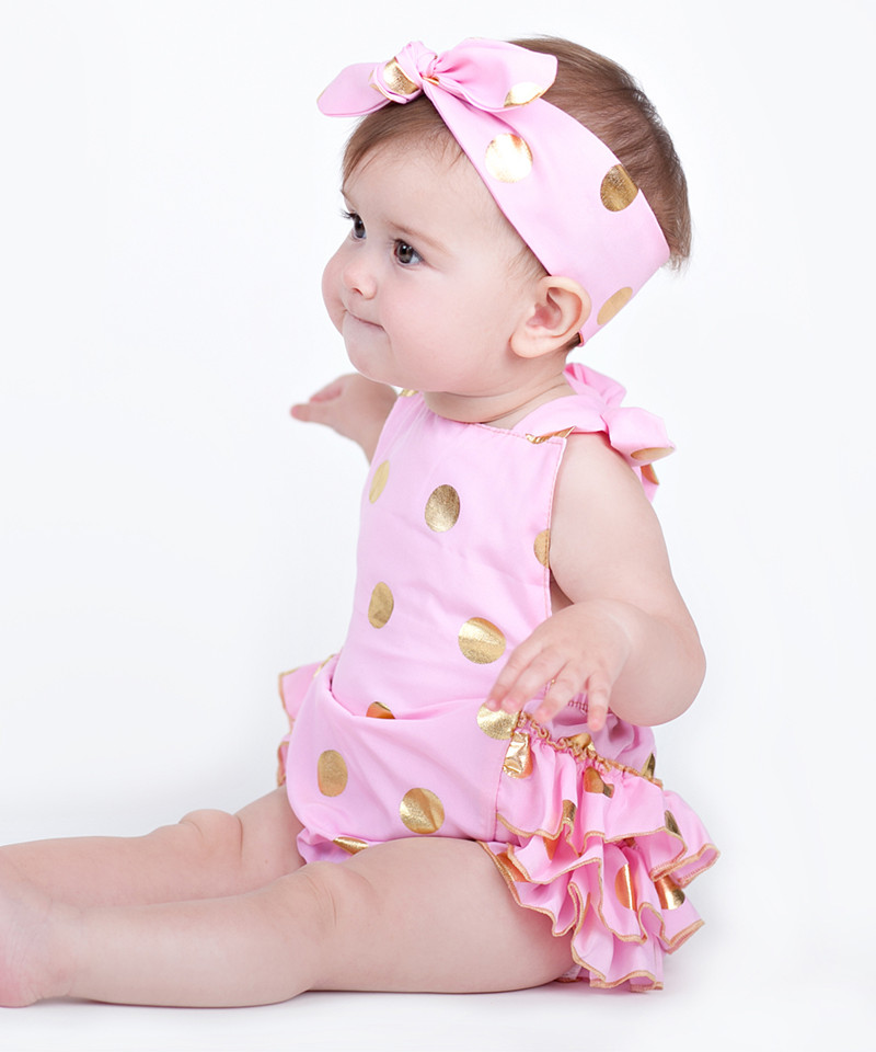 Pink Metallic Gold Polka Dots Headband  2391f0561f6