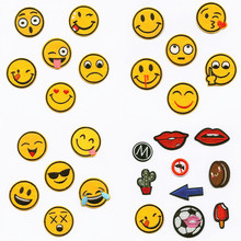 hot deal buy yellow smile rich expression patchwork patch embroidered patches for clothing iron on for close shoes bags badges embroidery